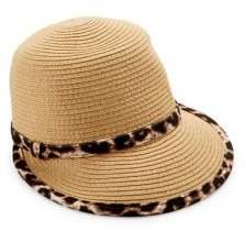 Collection 18 Leopard-Print Trim Straw Hat