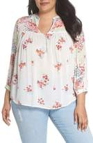 Lucky Brand Mixed Print Top Peasant Top