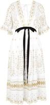 LoveShackFancy Augusta Embroidered Midi Dress