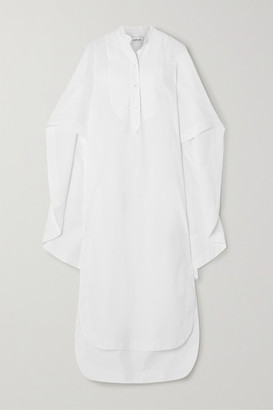Lanvin Cape-effect Cotton-poplin Shirt Dress - White