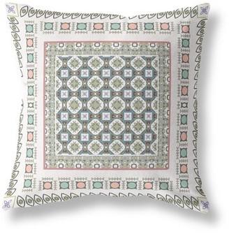 Bloomsbury Market Buitron World and Windows Geometric Throw Pillow Color: WhiteBlue