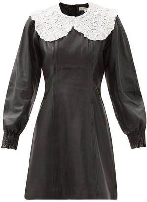 Sea Loretta Broderie-anglaise Collar Leather Dress - Black
