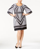 Calvin Klein Plus Size Geo-Print Bell-Sleeve Jersey Dress