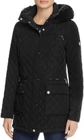 Calvin Klein Quilted Faux Fur Trim Coat