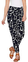 As Is Susan Graver Printed Stretch Woven Side Zip Ankle Pants