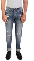 Pierre Balmain Men's Slim Fit Distressed Denim Jeans Pants Blue.
