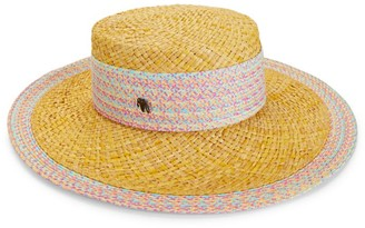 Raffaello Bettini Multicolor-Trimmed Wide-Brim Straw Hat