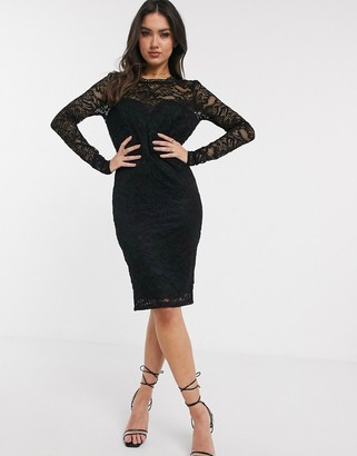 Flounce London lace midi dress with scalloped back in black