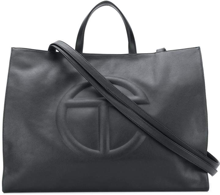 Telfar embossed logo shopper bag