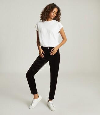 Reiss Lux Velvet - Velvet Mid Rise Skinny Trousers in Plum