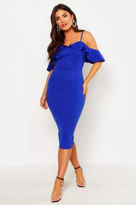 boohoo Strappy Frill Cold Shoulder Dress