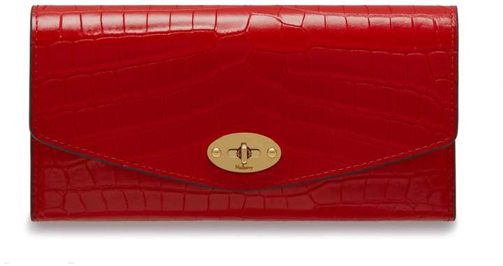 Mulberry Darley Wallet Ruby Red Croc-Embossed Nappa