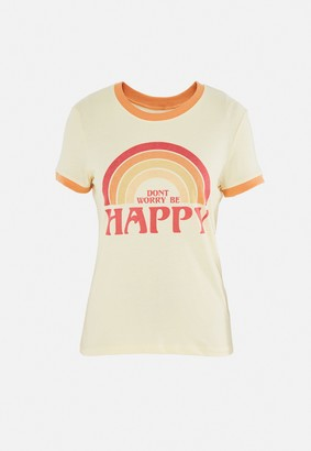 Missguided Yellow Don'T Worry Be Happy Graphic T Shirt