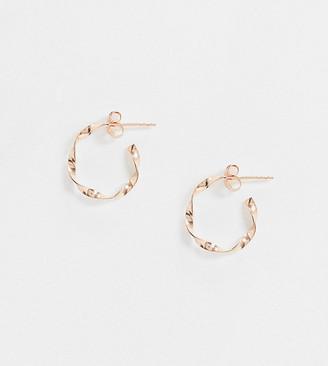 Kingsley Ryan Exclusive twisted hoop earrings in sterling silver rose gold plated