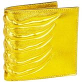 Alexander Mcqueen Metallic Leather Ribcage Bi-fold Wallet