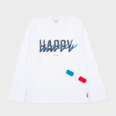 Paul Smith Boys' 7+ Years White 3D Happy Print 'Mingo' Top
