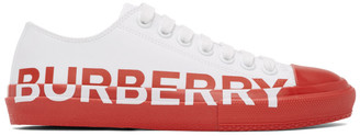 Burberry Red and White Larkhall M Logo Sneakers