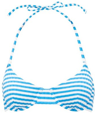 Solid & Striped The Ginger Striped Underwired Bikini Top - Womens - Blue White