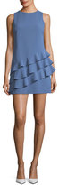 Alice + Olivia Clive Asymmetric Ruffle Sleeveless A-line Dress