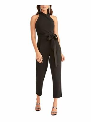 Rachel Roy Womens Black Tie Zippered Sleeveless Halter Party Jumpsuit Size: L