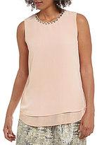 Calvin Klein Crepe Embellished Neck Shell