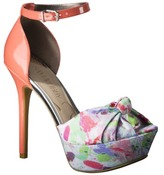 Sam & Libby Women's Marilyn Open Toe Pump with Fabric Knot - Coral/Floral