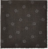 Luciano Barbera Men's Floral Woven Wool-Silk Pocket Square-GREY
