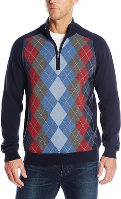 Cutter & Buck Men's Big-Tall Shane Argyle Half Zip Sweater