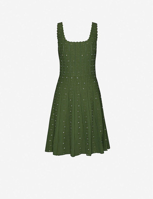 Sandro Avah embellished stretch-knitted midi dress