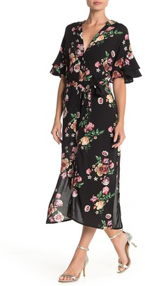 Papillon Floral Ruffle Sleeve Button Midi Dress
