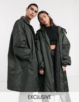 COLLUSION Unisex oversized coat in khaki