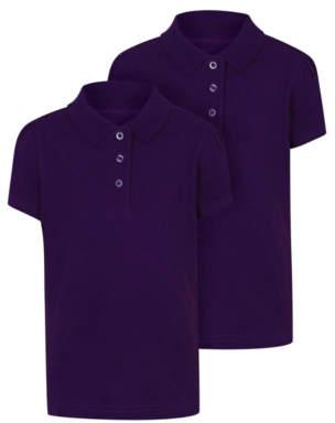 George Girls Purple Scallop School Polo Shirt 2 Pack