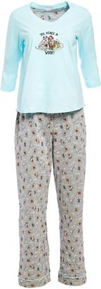 Pillow Talk Women's Sleep Bottoms WINTER - Gray & Blue Singing Dog 'Peace Joy & Woof' Pajama Set - Women