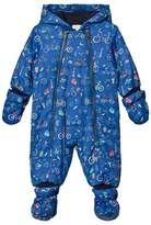 Paul Smith Navy Bicycle Print Padded Snowsuit with Detachable Mittens and Booties