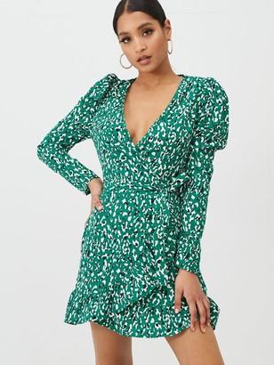 Missguided Missgudied Puff Sleeve Ruffle Hem Wrap Leopard Tea Dress - Green