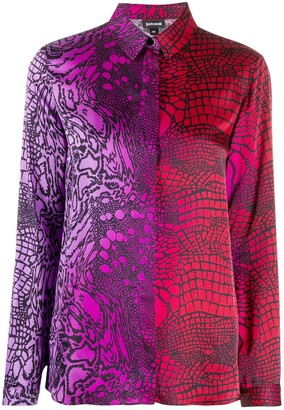 Just Cavalli Gradient Print Long-Sleeved Shirt