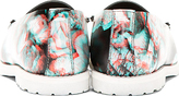Maison Martin Margiela Black Leather Floral Print Loafers