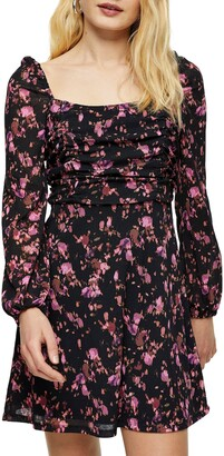 Topshop Floral Print Ruched Tea Dress