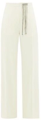 Christopher Kane Crystal-embellished Brushed Wool-twill Trousers - Womens - Ivory