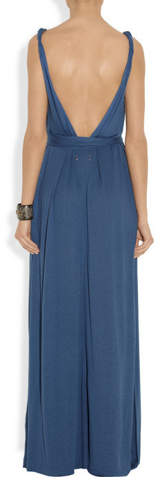 Chinti and Parker Gathered bamboo-jersey maxi dress