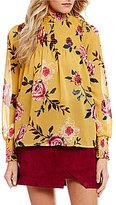 Living Doll Mockneck Floral-Printed Smocked Top