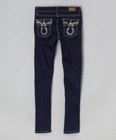 Navy & Silver Rhinestone Jeans - Girls