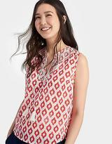 Joules Womens Otille Woven Sleevless Top with Tassel Ties in Soft Coral Ikat