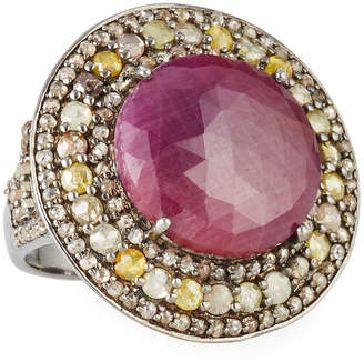 Bavna Round Glass Ruby Diamond-Trim Ring