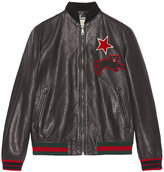 Gucci Leather bomber with embroideries