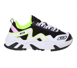 MSGM Sneakers In Leather And Multicolor Fabric