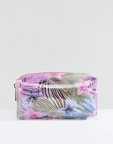 New Look Clear Floral Make Up Bag