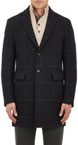 Luciano Barbera Men's Plaid Wool Single-Breasted Topcoat-BLACK