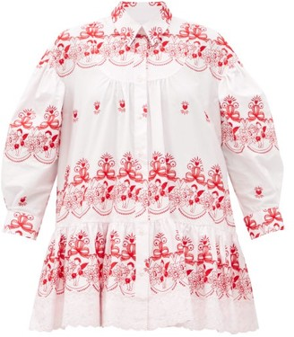 Simone Rocha Cherub-embroidered Tiered Cotton Blouse - Pink Print