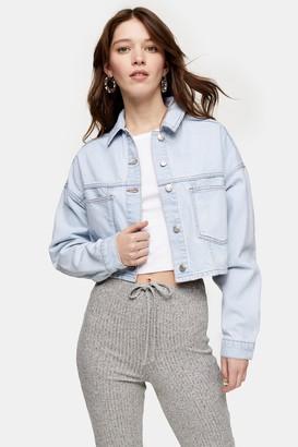 Topshop Womens Bleach Denim Cropped Denim Jacket - Bleach Stone